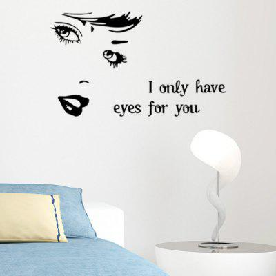 Krásne veľké oči riasy Wall Decal Removable Sofa Background Decor
