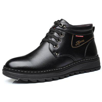 MUHUISEN Winter Leather Shoes Warm Working Casual Lace Up Flats Male Boots