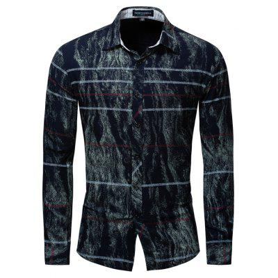 Men's New Long Sleeve Over Printing Elastic Casual Shirt