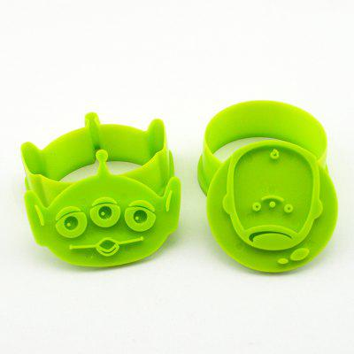 Pair of 3D Biscuit Molds Plastic Cookie Cutters Stamps