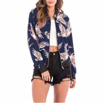 Women's Stand Collar Bird Print Long Sleeve Baseball Jacket Casual Coat