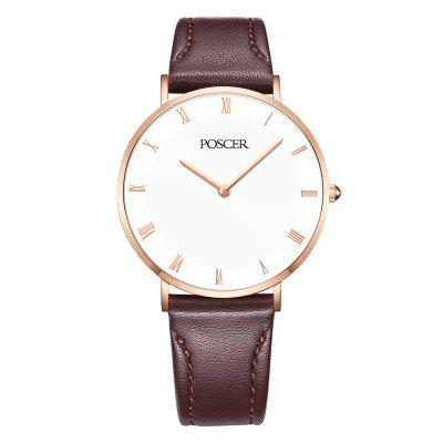 POSCER Lady Quartz Waterproof Strap Ancient Contracted Coupl Watch 50053