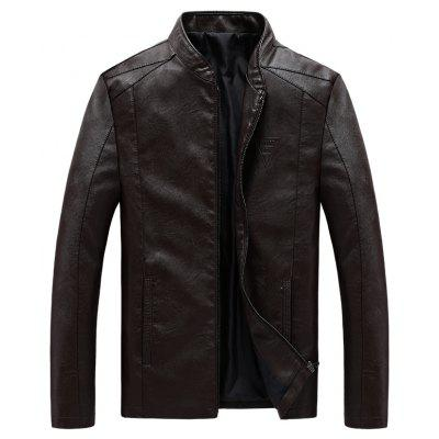 Men Synthetic Leather  Plus Size Solid Color Stand Collar Fashion Jacket