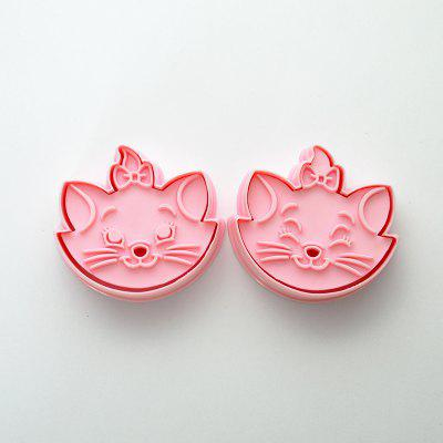 Pair of 3D Biscuit Mold Cat Cookie Cutters Cookie Stamps