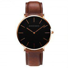 Hannah Martin Simple Fashion Japanse beweging Heren casual quartz lederen horloge