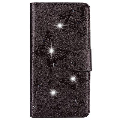 Mirror Case Phone Diamond Strap Wallet Leather Cover for Samsung Galaxy Note 9