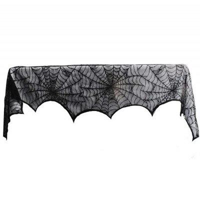 Halloween Decoration Black Lace Spiderweb Fireplace Mantle Scarf Cover