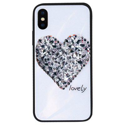 Glitter Rhinestone Love Tempered Glass Achterkant voor iPhone X