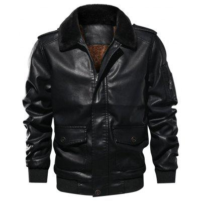 QIQICHEN 77CITY Men's Casual Padded Flight Plus Size Leather Jacket