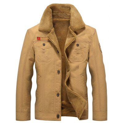 Men Casual Jacket Turn Down Collar Thickened Fashion Warm Coat