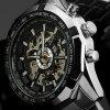 Winner Brand Luminous Clock Men Automatic Mechanical Skeleton Military Watches - BLACK