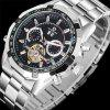 Forsining Mens Automatic  Luxury Brand Famous Stainless Steel Mechanical Watch - BLACK