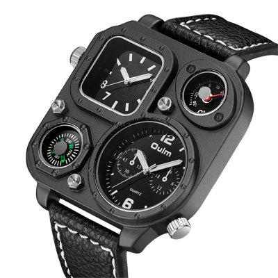Oulm HP1169 Multi-function Compass Thermometer PU Leather Strap Watch