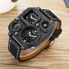 Oulm HP1169 Multi-function Compass Thermometer PU Leather Strap Watch - BLACK