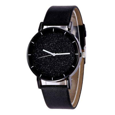 Fashion New Design Creative Sparkle Large Dial Leather Quartz Dress Watch