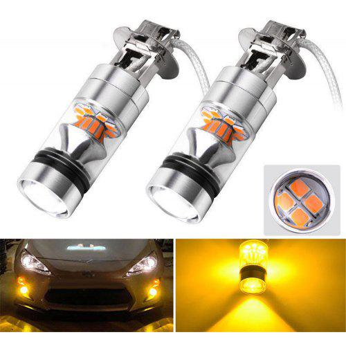 2pCS H3 100W 20 LED Car Truck Fog Driving Light Daytime Running Lamps Yellow