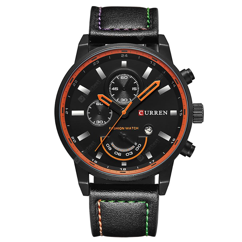 CURREN Calendário Casual Men Watch - PRETO