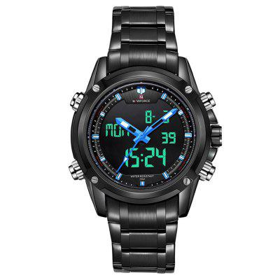 Naviforce Men Stainless Steel Analog Quartz Date Alarm Sport Watch
