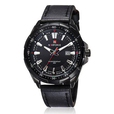 NAVIFORCE Fashion Men's Quartz PU Leather Analog Date Water Resistant Watches