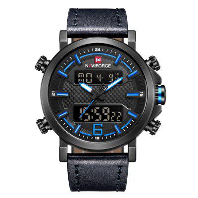 NAVIFORCE Man luxe lederen dubbele LED-display beweging quartz horloge