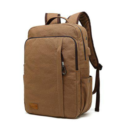 Unsex Canvas Casual Laptop Backpack for School and Business with USB Charge Port