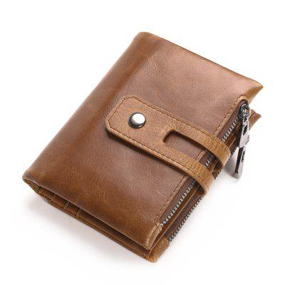 Vintage Short Genuine Leather Men Wallet Male Purse Double Zipper Coin Bag