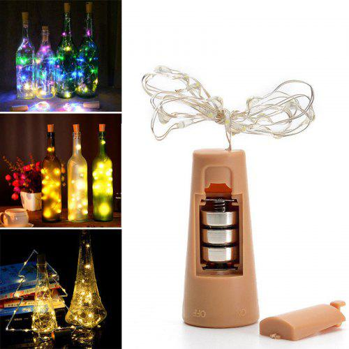 20 LED Solar Wine Bottle Cork Shaped String Fairy Lights Night Lamp Party Decor