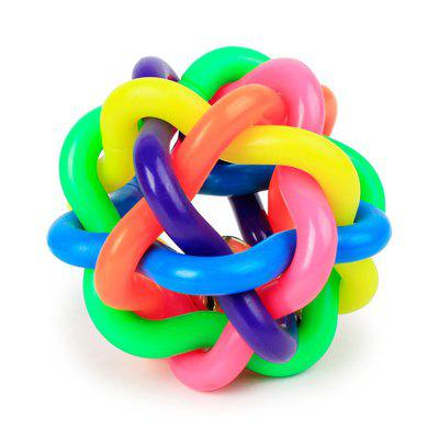 Colorful Belts Woven Rubber Ball Dog Toy