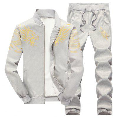 Men Cozy Hooded Pullover Long Pants Casual Set