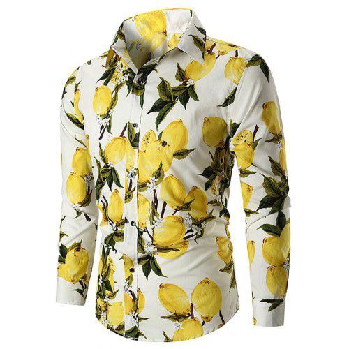 9f17144d3ac Men s Long Sleeve Large Size Lemon Ethnic Wind Cotton Shirt