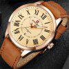 NAVIFORCE Men Leather Leisure Water Resistant Roman Date Watches - BROWN