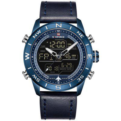 NAVIFORCE Men's Double LED Display Movement Water Resistant Electronic Watches