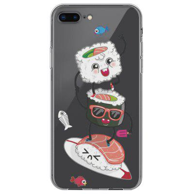 Food Sushi Cartoon Pattern Soft Clear Case Cover TPU for iPhone 7 Plus / 8 Plus