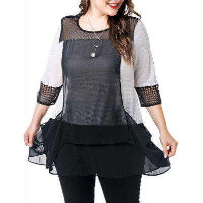 3/4 Length Sleeve Splicing Blouse