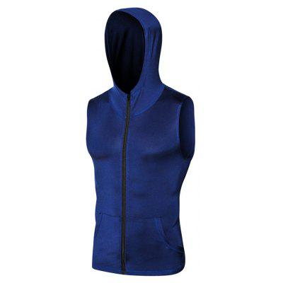 Men's Sports Running Training Zipper Hooded Quick-drying Vest