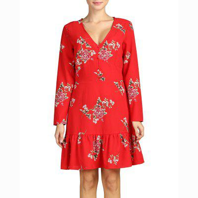 SBETRO Deep V Neck Long Sleeve Print Pleated Dress Fishtail Red Firenze Dress