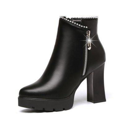 Thick Heel Water Drill 100 Build Thick Bottom High-Heeled Shoes Boots