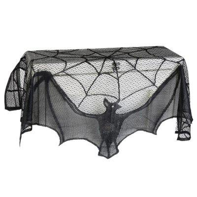 Halloween Decor Haunted House Gothic Black Lace Spider Web  Curtains