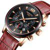 NIBOSI Man Luxury Leather Strap Chronograph Water Resistant Top Brand Watches - BROWN