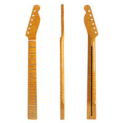 21 Fret Tiger Flame Maple Abalone Dot Yellow  Electric Guitar Neck for TL