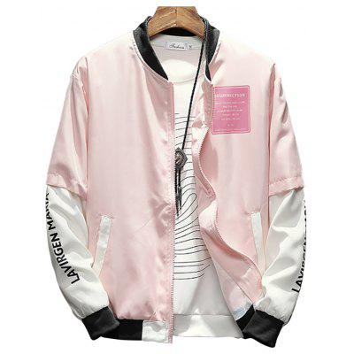 Men's Stand Collar Color Matching Letter Print Jacket