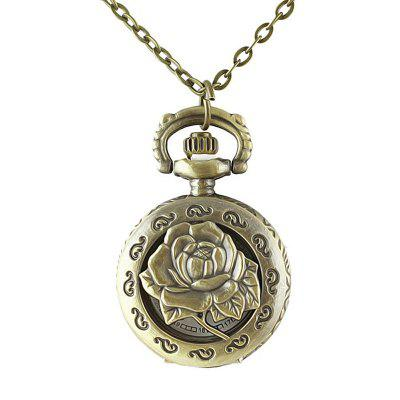 Beautiful Alloy Hollow-out Rose Flower Number Pocket Watch