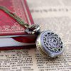 Fashion Cute Hollow-out Flower Small Digital Pocket Watch Necklace - MULTI