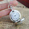 Charming Fashion Rose Printing Pendant Pocket Watch with Metal Long Chain - SILVER