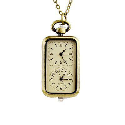 Fashion Square Geometry Pendant Pocket Watch with Metal Long Chain