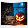 Wooden Wheel Spider Pumpkin 3D Printing Home Wall Hanging Tapestry for Decoratin - MULTI