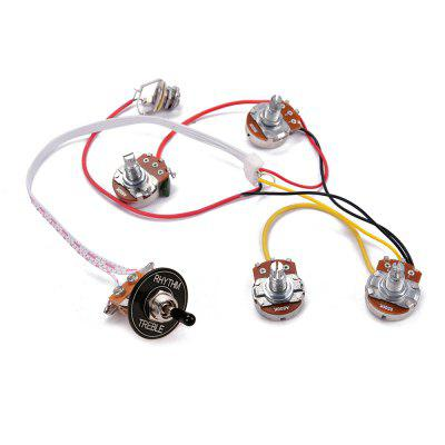 LP Electric Guitar Wiring Harness Kit 3 Way Toggle Switch 2 Volume 2 Tone Jack