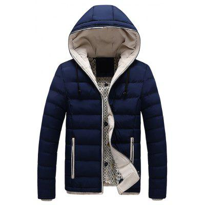 Men Quilted  Thickened Comfy Zipper Long Sleeve Hooded Coat