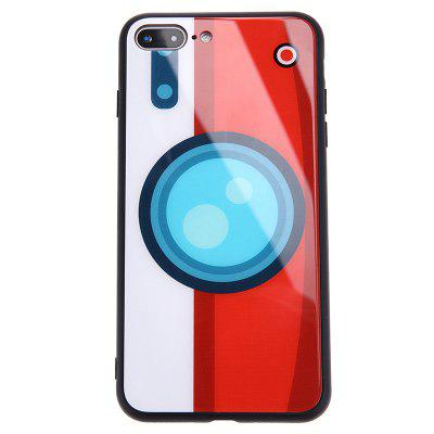 Camera Pattern Glass Protective Phone Case Hard Back Cover for iPhone 7 Plus