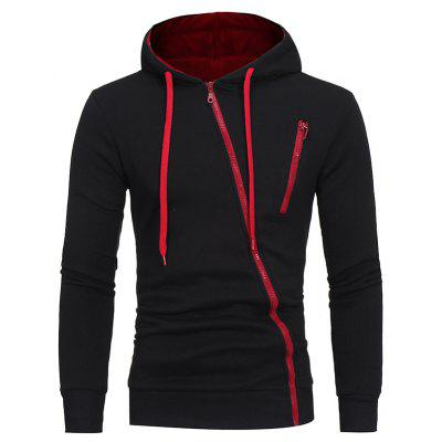 Men's Fashion Diagonal Casual Solid Color Hooded Sweater